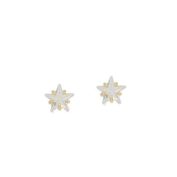 Brinco Estrela de Cristal Média Folheado a Ouro 18K