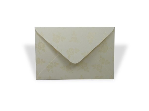 Envelopes 72 x 108 mm - Creme Decor Rosas Incolor - Lado Externo