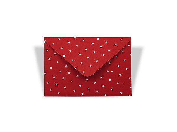 Envelopes 72 x 108 mm - Vermelho Decor Bolinhas Brancas - Lado Externo