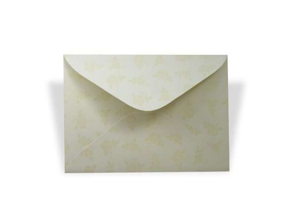 Envelopes 114 x 162 mm - Creme Decor Rosas Incolor - Lado Externo