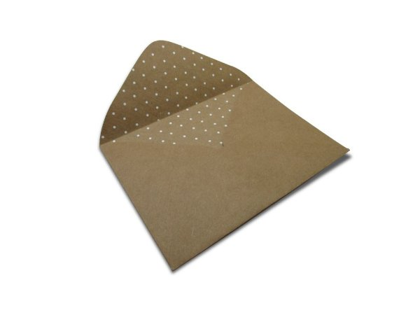 Envelopes 114 x 162 mm - Kraft Decor Bolinhas Branco - Lado Interno