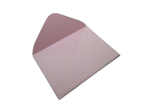 Envelopes 114 x 162 mm - Rosa Verona Decor Bolinhas Branco - Lado Externo