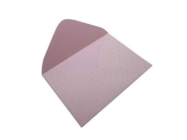 Envelopes 114 x 162 mm - Rosa Verona Decor Bolinhas Incolor - Lado Externo