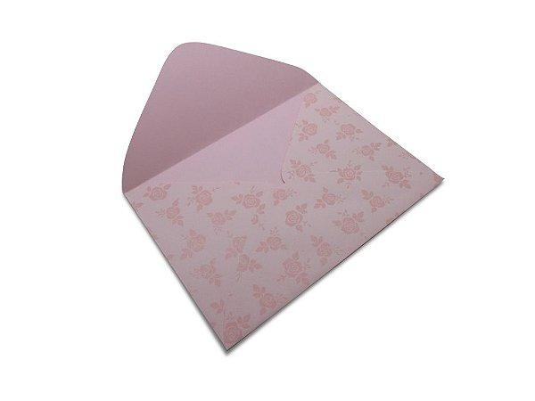 Envelopes 114 x 162 mm - Rosa Verona Decor Rosas Incolor - Lado Externo