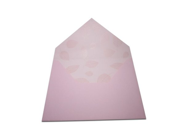 Envelopes 165 x 225 mm - Rosa Verona Decor Folhas Incolor - Lado Interno