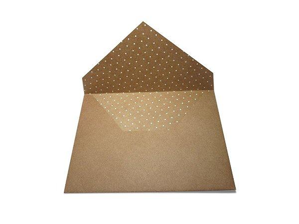 Envelopes 165 x 225 mm - Papel Kraft Decor Bolinhas Brancas - Lado Interno