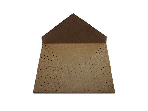 Envelopes 165 x 225 mm - Papel Kraft Decor Bolinhas Pretas - Lado Externo