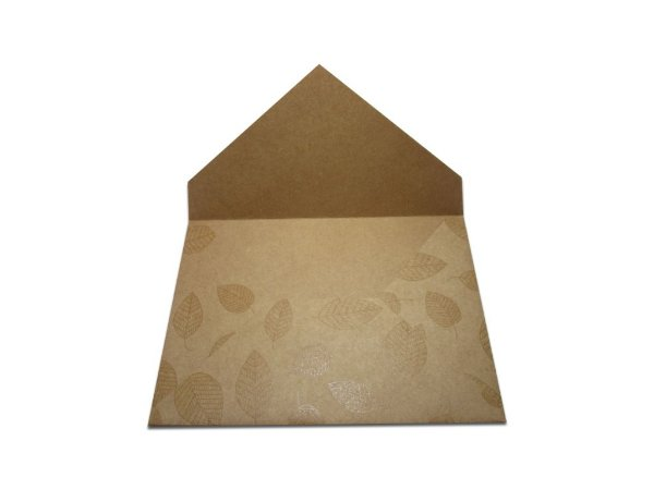 Envelopes 165 x 225 mm - Papel Kraft Decor Folhas Incolor - Lado Externo