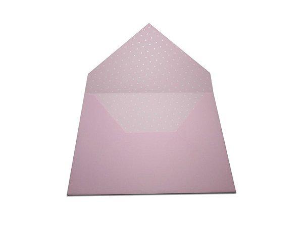 Envelopes 165 x 225 mm - Rosa Verona Decor Bolinhas Brancas - Lado Interno
