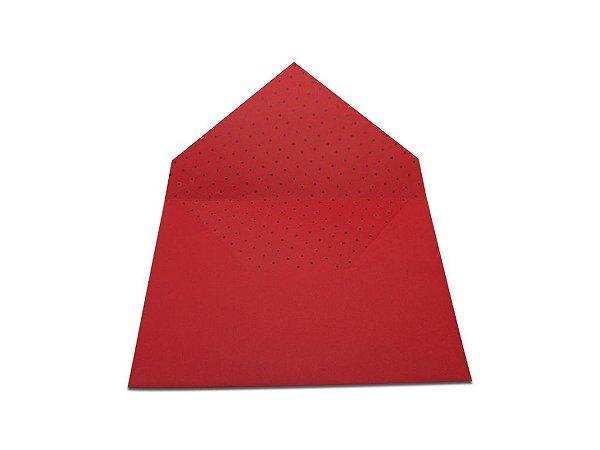 Envelopes 165 x 225 mm - Vermelho Decor Bolinhas Pretas - Lado Interno