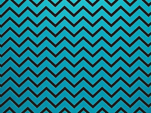 Decor Chevron Blue - Preto