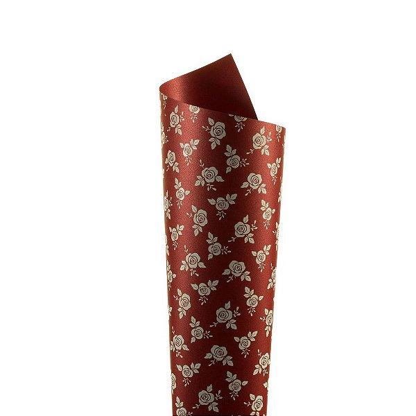 Papel Relux Decor Rosas Rubí - Branco 30,5x30,5cm com 5 unidades