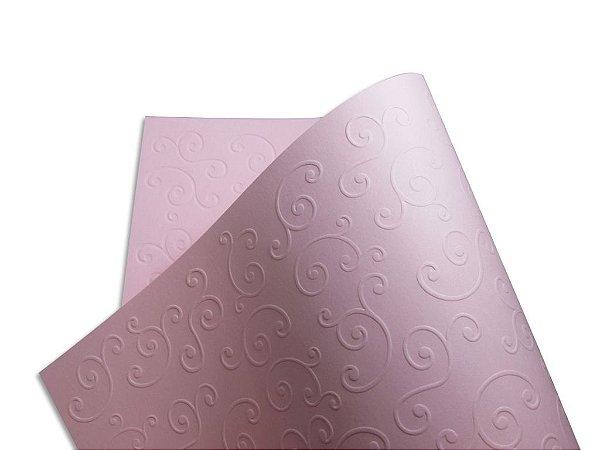 Papel Tx Realce Arabesco Rosa Verona 30,5x30,5cm com 5 unidades
