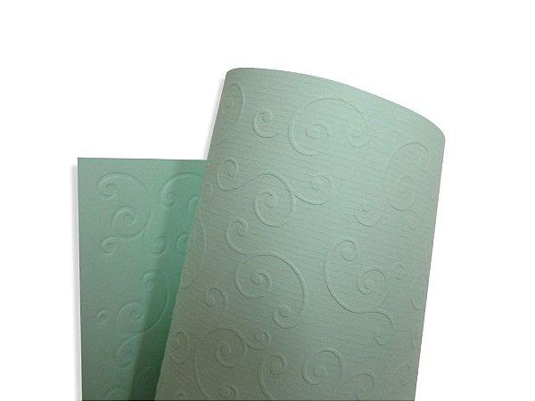 Papel Tx Realce Arabesco Verde 30,5x30,5cm com 5 unidades