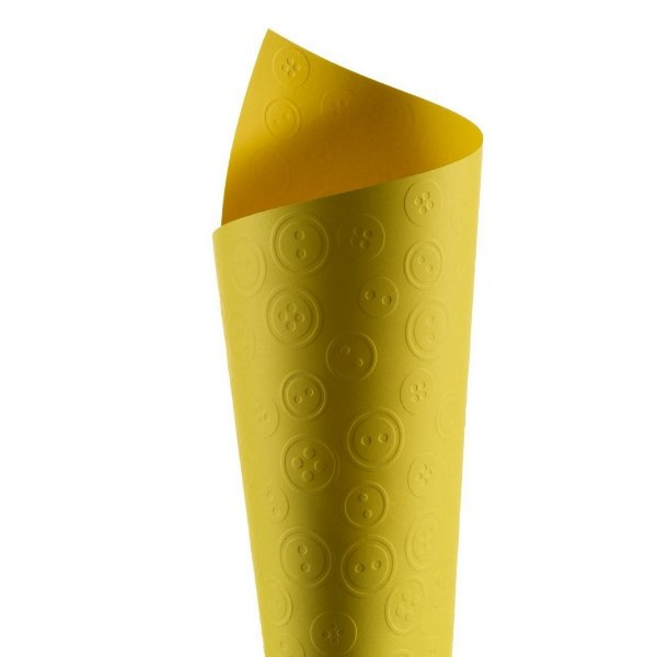 Papel Tx Realce Botões Canário 30,5x30,5cm com 5 unidades