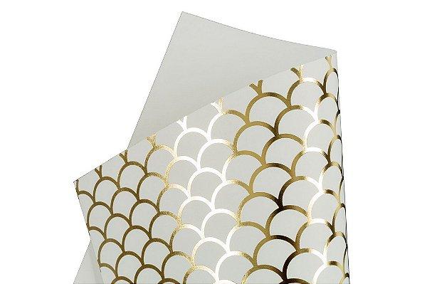 Papel Hot Decor Escamas Branco 30,5x30,5cm com 2 unidades