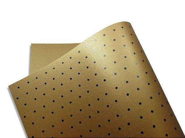 Papel Relux Decor Bolinhas Cappuccino - Preto 30,5x30,5cm com 5 unidades