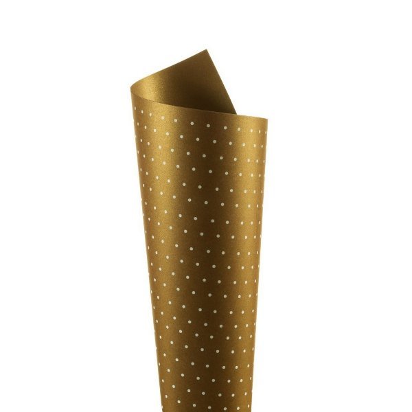 Papel Relux Decor Bolinhas Cappuccino - Branco 30,5x30,5cm com 5 unidades