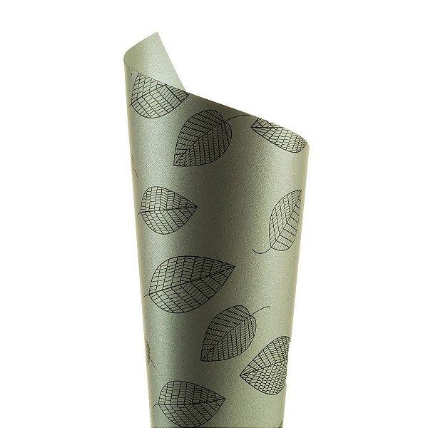 Papel Relux Decor Folhas Platino - Preto 30,5x30,5cm com 5 unidades