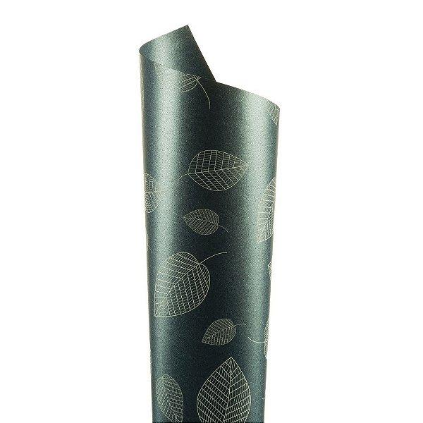 Papel Relux Decor Folhas Jeans - Branco 30,5x30,5cm com 5 unidades