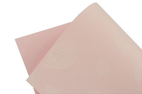 Papel Decor Folhas Rosa Verona - Branco 30,5x30,5cm com 5 unidades