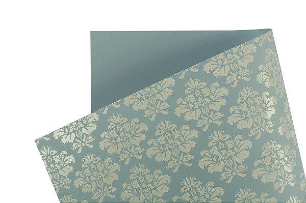 Papel Decor Arabesco Azul Santorini - Branco 30,5x30,5cm com 5 unidades