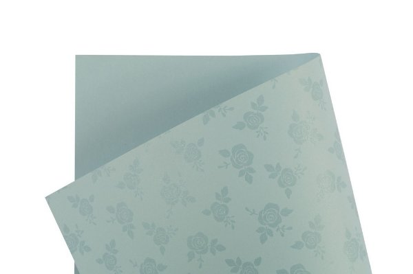 Papel Decor Rosas Azul Santorini - Incolor 30,5x30,5cm com 5 unidades