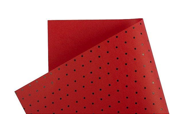 Papel Decor Bolinhas Vermelho - Preto 30,5x30,5cm com 5 unidades