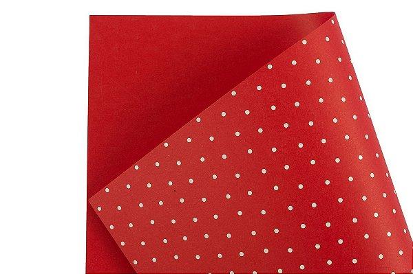 Papel Decor Bolinhas Vermelho - Branco 30,5x30,5cm com 5 unidades