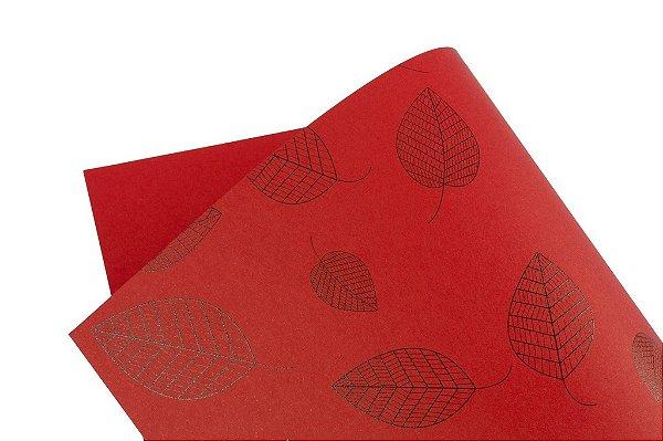 Papel Decor Folhas Vermelho - Preto 30,5x30,5cm com 5 unidades