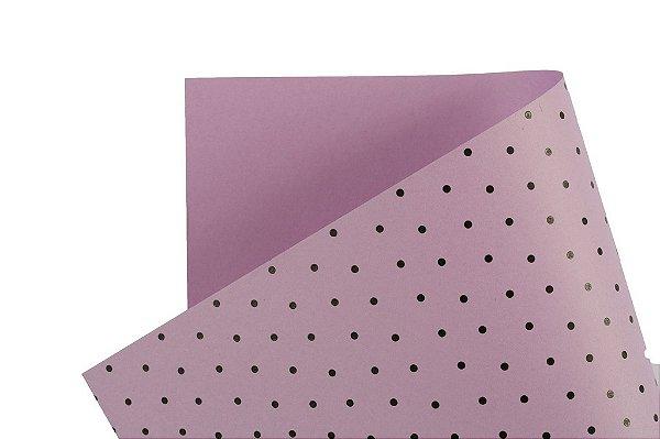 Papel Decor Bolinhas Lilás - Preto 30,5x30,5cm com 5 unidades