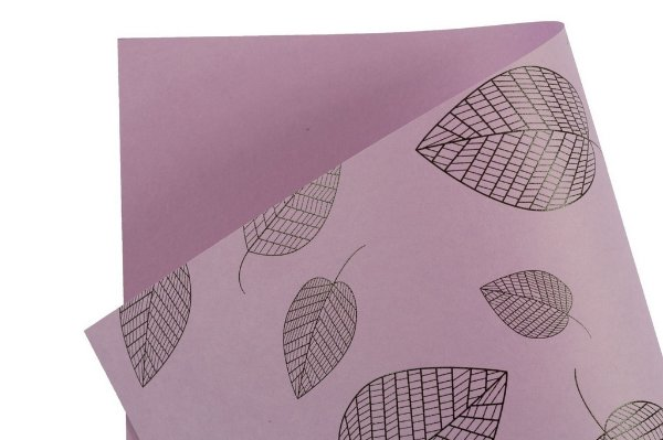 Papel Decor Folhas Lilás - Preto 30,5x30,5cm com 5 unidades