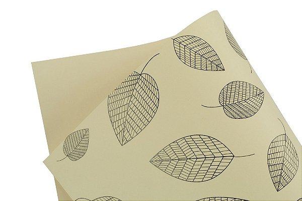 Papel Decor Folhas Creme - Preto 30,5x30,5cm com 5 unidades