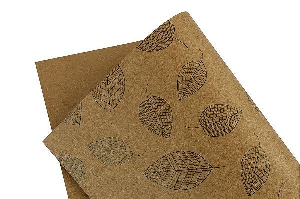 Papel Decor Folhas Kraft - Preto 30,5x30,5cm com 5 unidades