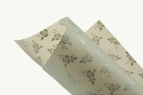 Papel Vegetal Decor Rosas Clear - Branco 30,5x30,5cm com 2 unidades