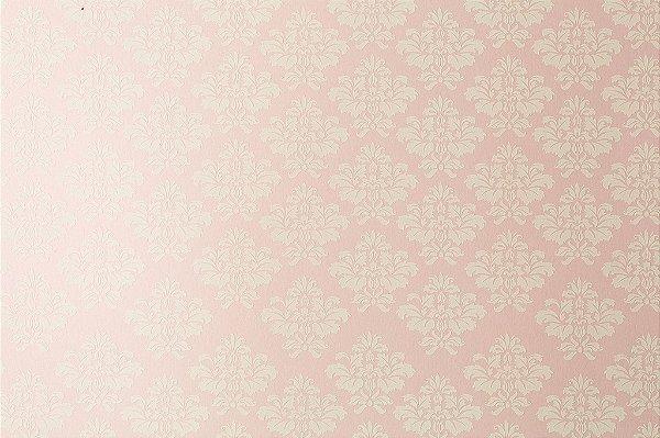 Papel Decor Arabesco Rosa Verona - Branco 30,5x30,5cm com 5 unidades