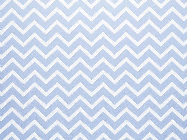 Papel Decor Chevron Azul Santorini - Branco 30,5x30,5cm com 5 unidades