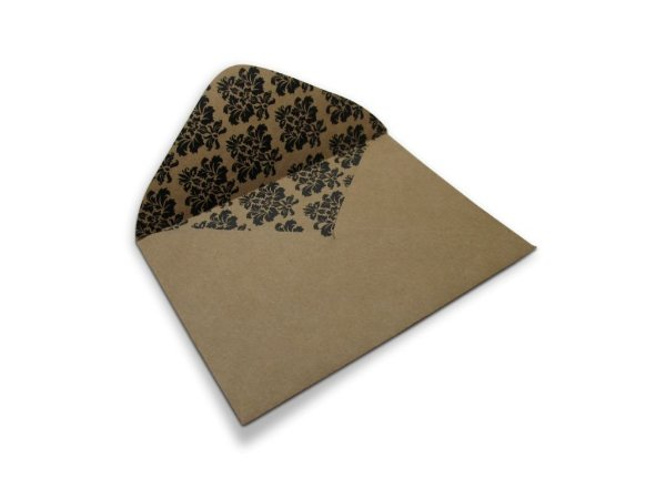 Envelopes carta Kraft Decor Arabesco Preto - Lado Interno com 10 unidades