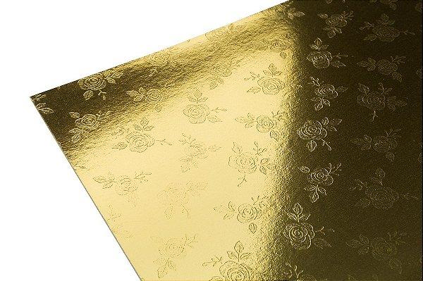 Papel Lami Decor Rosas Ouro - Incolor 30,5x30,5cm com 5 unidades