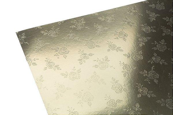 Papel Lami Decor Rosas Prata - Incolor 30,5x30,5cm com 5 unidades