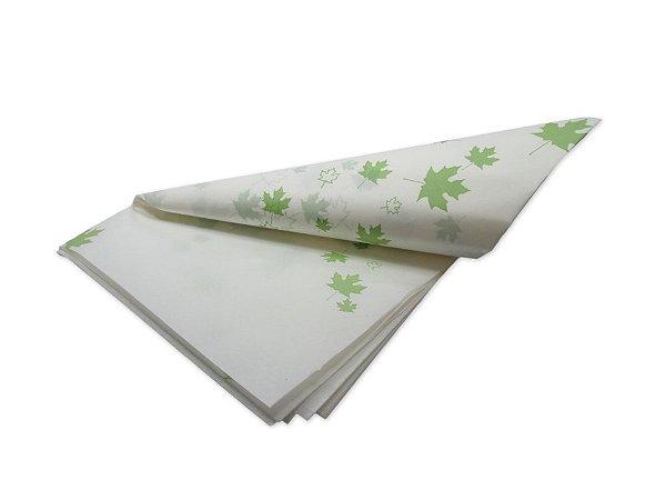 Papel de SEDA Folhas Verdes Escuro para presente com 3 unidades