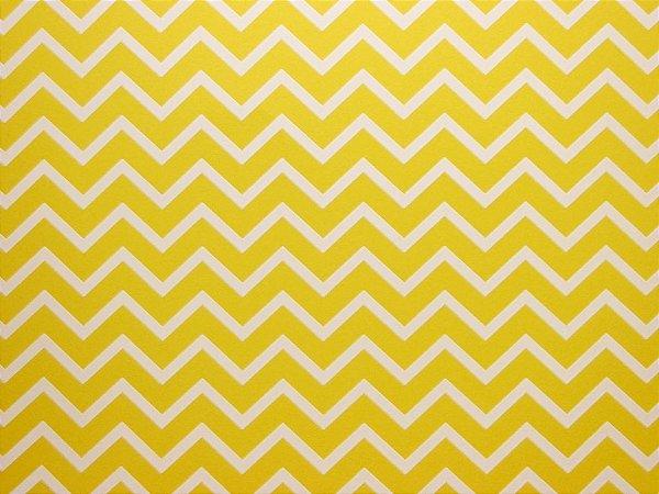 Papel Decor Chevron Yellow - Branco 30,5x30,5cm com 5 unidades