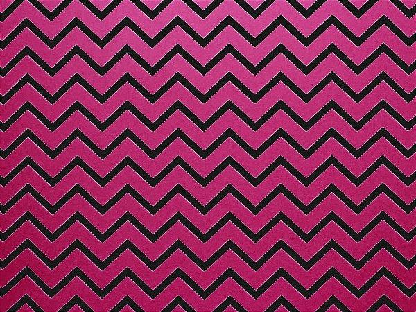 Papel Decor Chevron Pink - Preto 30,5x30,5cm com 5 unidades