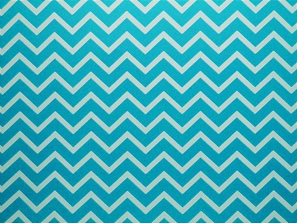 Papel Decor Chevron Blue - Branco 30,5x30,5cm com 5 unidades