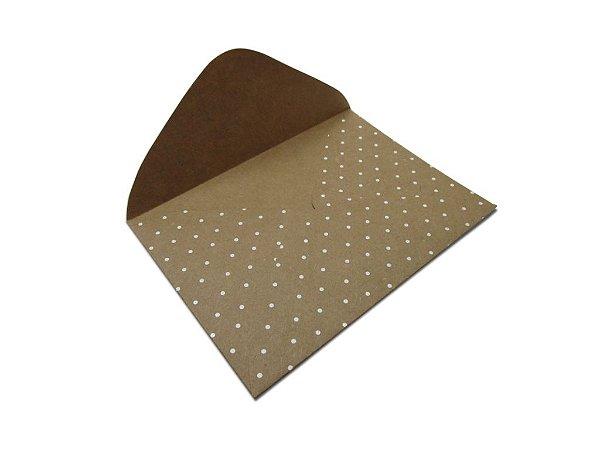 Envelopes carta Kraft Decor Bolinhas Branco - Lado Externo com 10 unidades