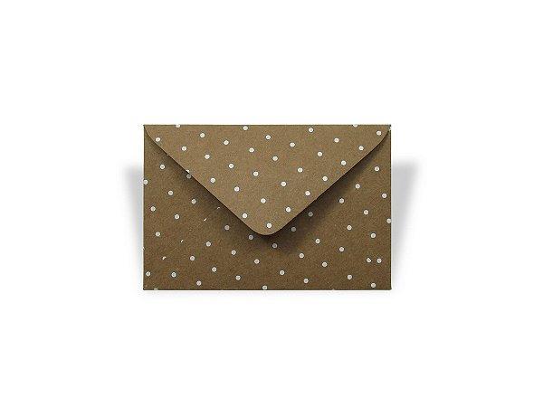 Envelopes visita Kraft Decor Bolinhas Brancas - Lado Externo com 10 unidades