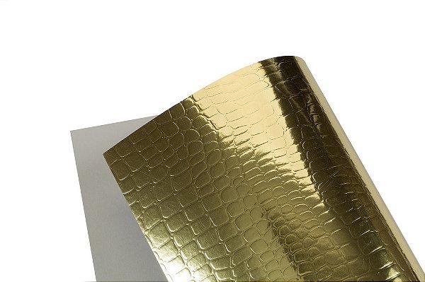 Papel Texture TX Croco Ouro A4 com 10 unidades