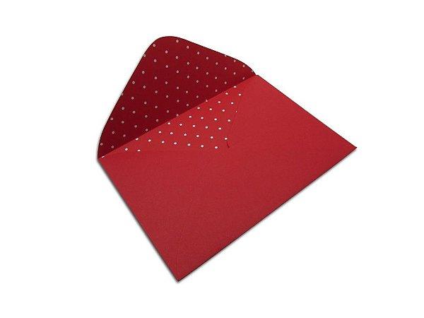 Envelopes carta Vermelho Decor Bolinhas Brancos - Lado Interno com 10 unidades