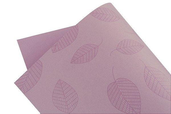 Papel Decor Folhas Lilás - Incolor 30,5x30,5cm com 5 unidades