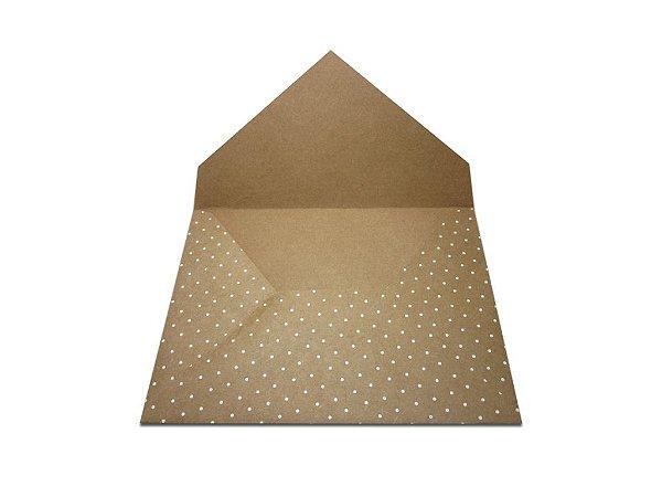 Envelopes convite Kraft Decor Bolinhas Brancas - Lado Externo com 10 unidades